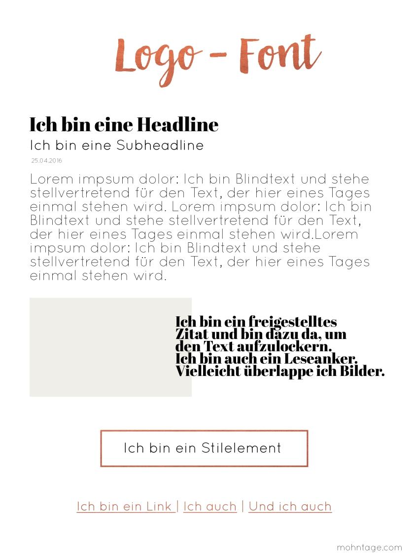 Mohntage_Neue Schriften und Stilelemente
