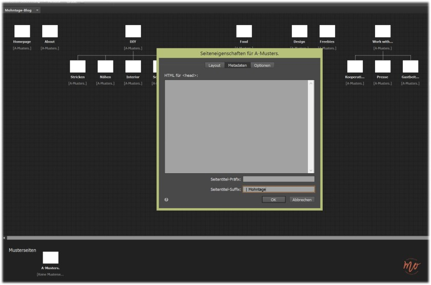 Blog-Relaunch-Adobe-Muse-Musterseite-Seiteneigenschaften-SEO-Optimierung-Mohntage
