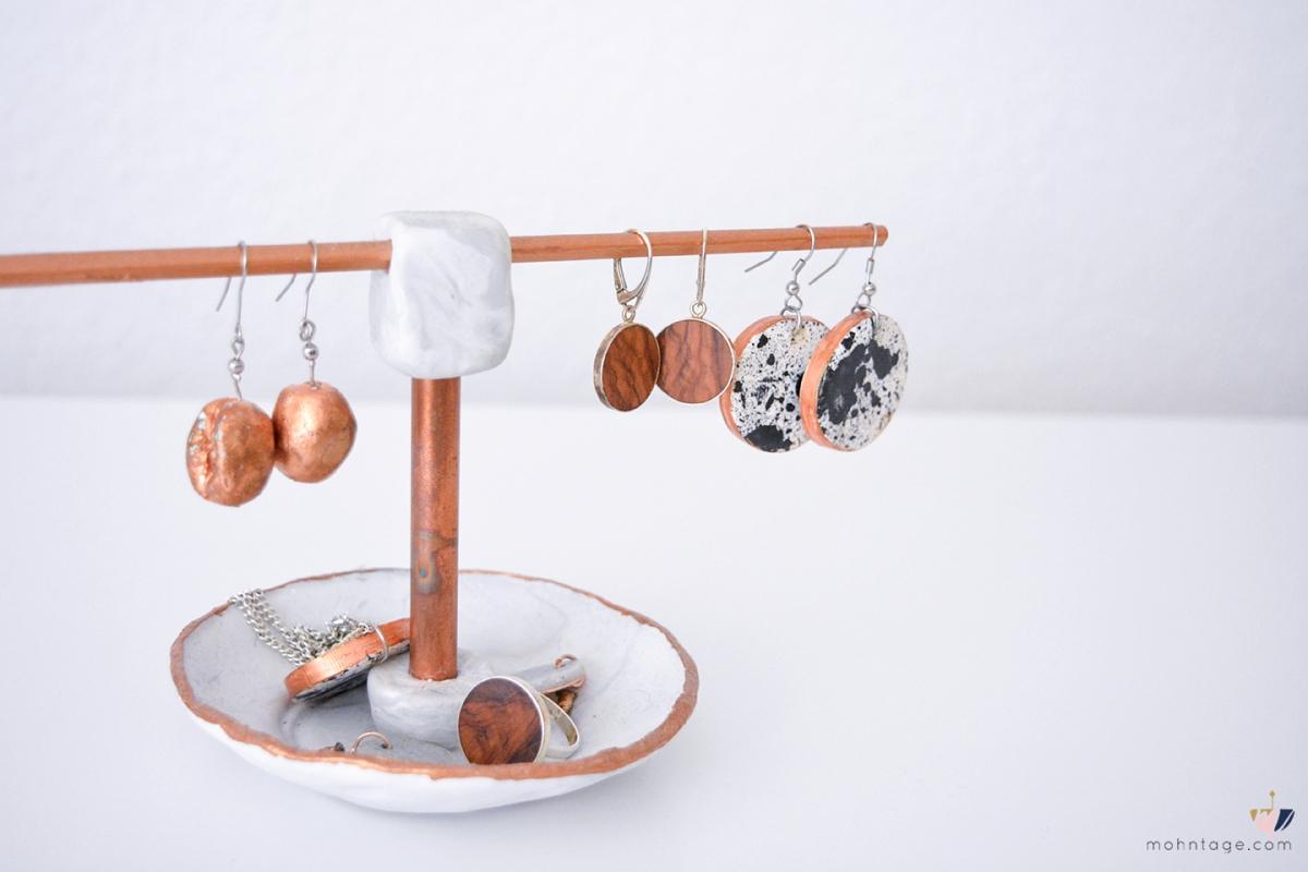 Schmuckständer basteln aus Fimo, Holz & Kupferrohr   Video