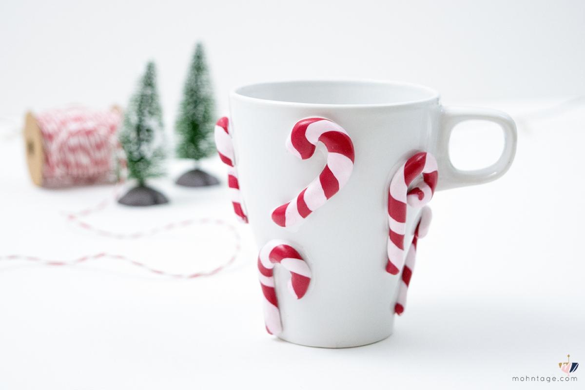 DIY Tasse mit Zuckerstangen aus Fimo   #Wohlfühlwinter