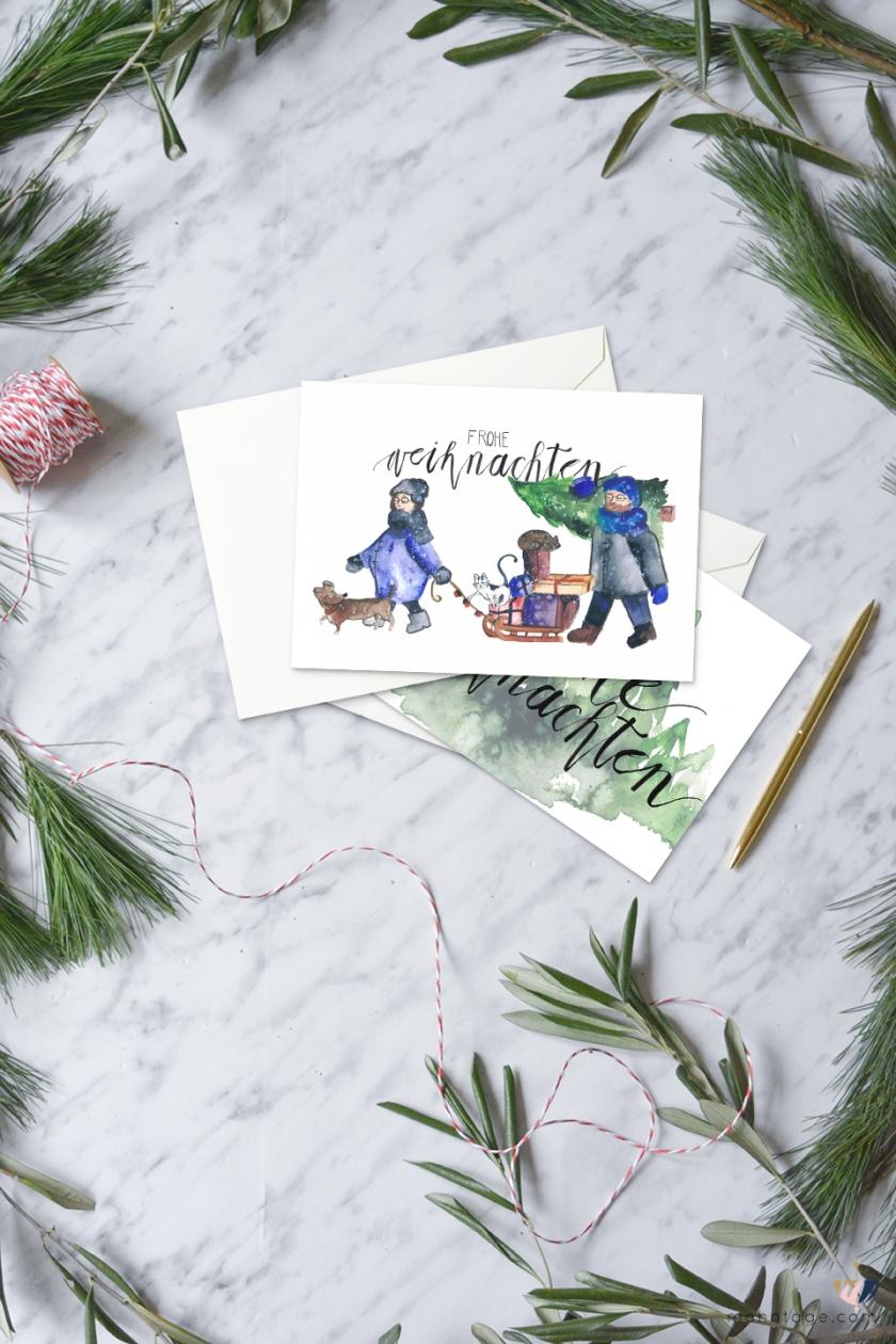 DIY-Aquarell-Weihnachtskarten-Freebie-Download-Mohntage-Blog-Gewinnspiel-1